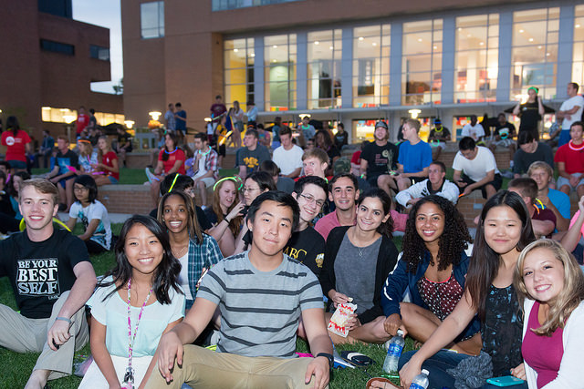 Students enjoy a movie on the Quad during the first week of classes.